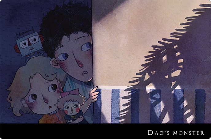 Dad's Monster  is an Interactive book about two children: Tim and Lily. Two siblings explore the night of house with their toy friend, trying to find a way to defeat the monster living next to dad.