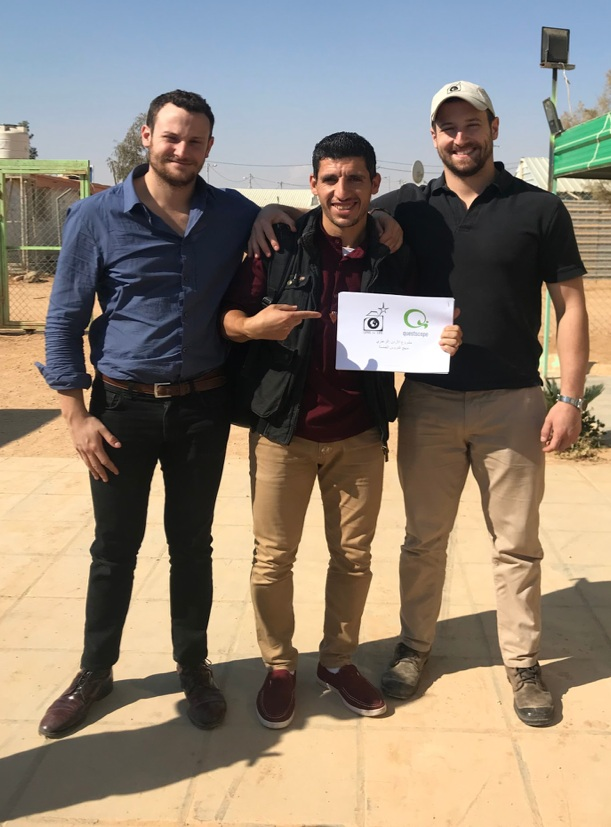 Lens on Life Founders Sam and Jack Powers with Mohamad, the school's new teacher.