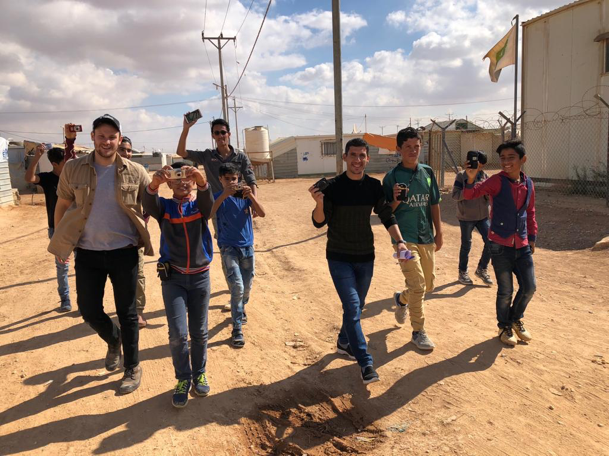 Sam Powers with the students in Za'atari Camp.