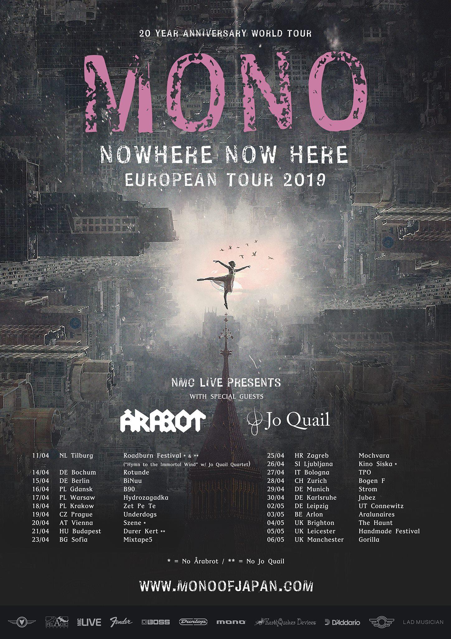 MONO + Arabot + Jo Quail Europe Tour Dates 2019