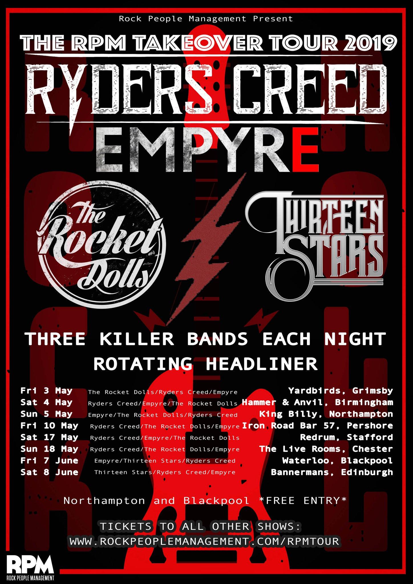 Ryders Creed UK Tour Dates 2019