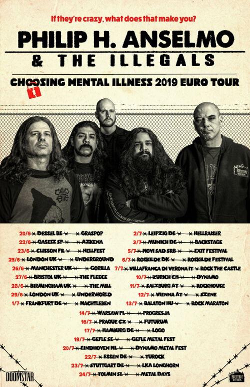 Phil Anselmo & The Illegals 2019 European Tour Dates Poster