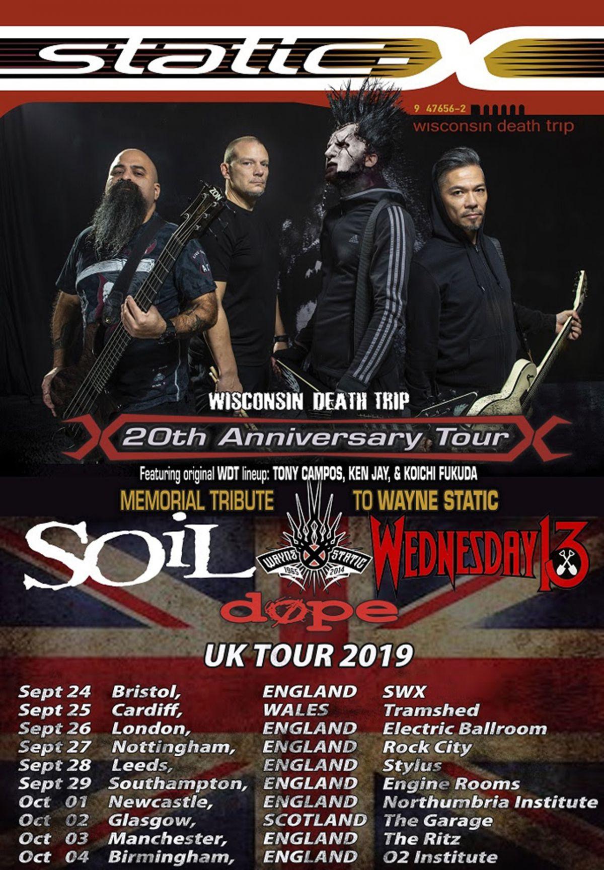Static X + SOiL UK tour dates 2019 poster