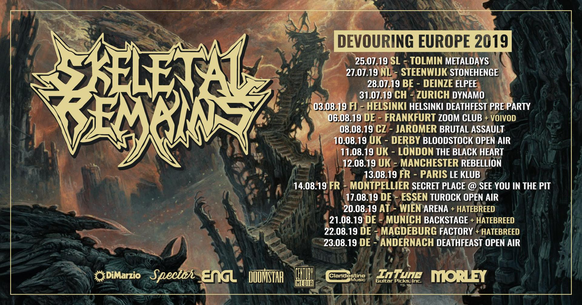 Skeletal Remains 2019 Tour Dates Europe