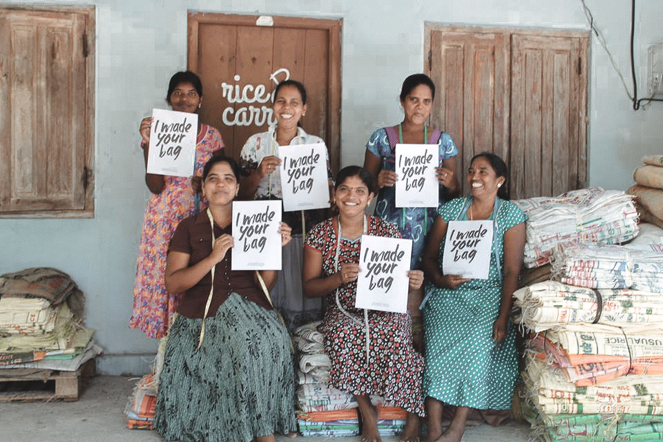 Meet the makers - Located in the east coast of sri lanka, this beautiful group of women are creating the recycled hessian and plastic rice bag collection. LEARN MORE HERE