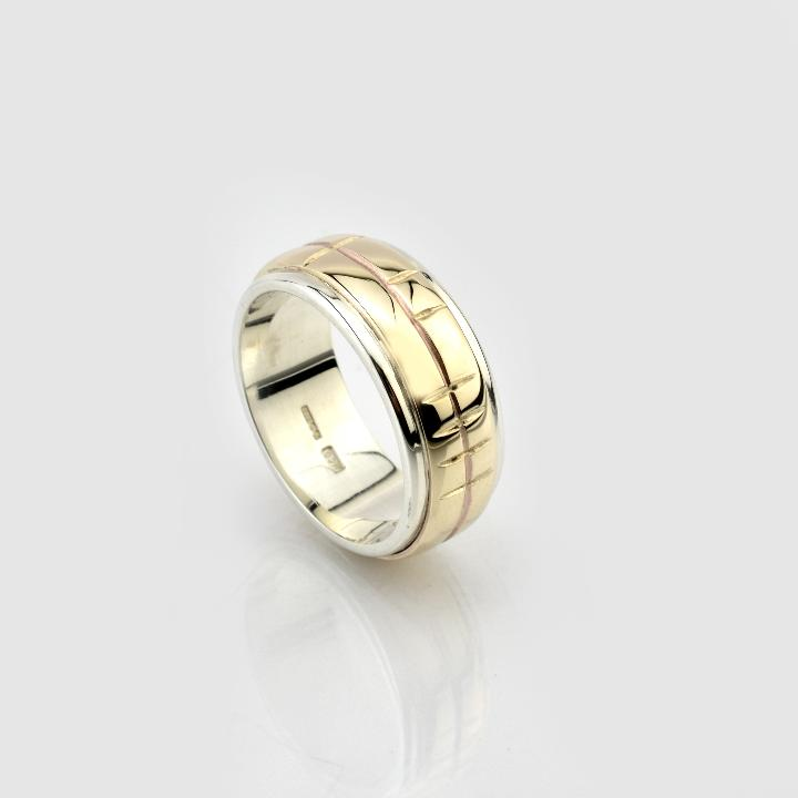 Ogham Inscribed Wedding Band Yellow Gold & Platinum