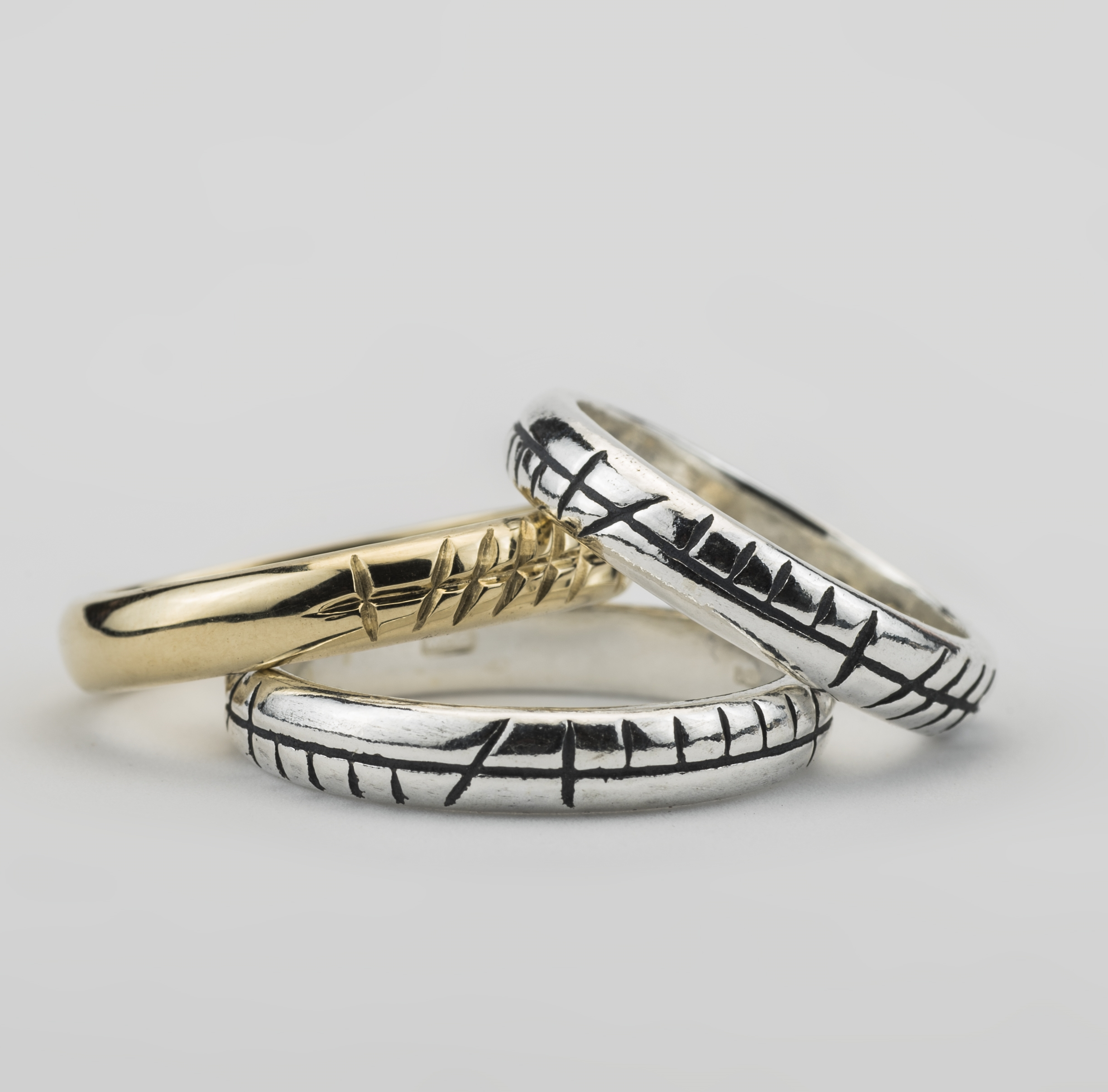 Silver and Gold Ogham customised  rings