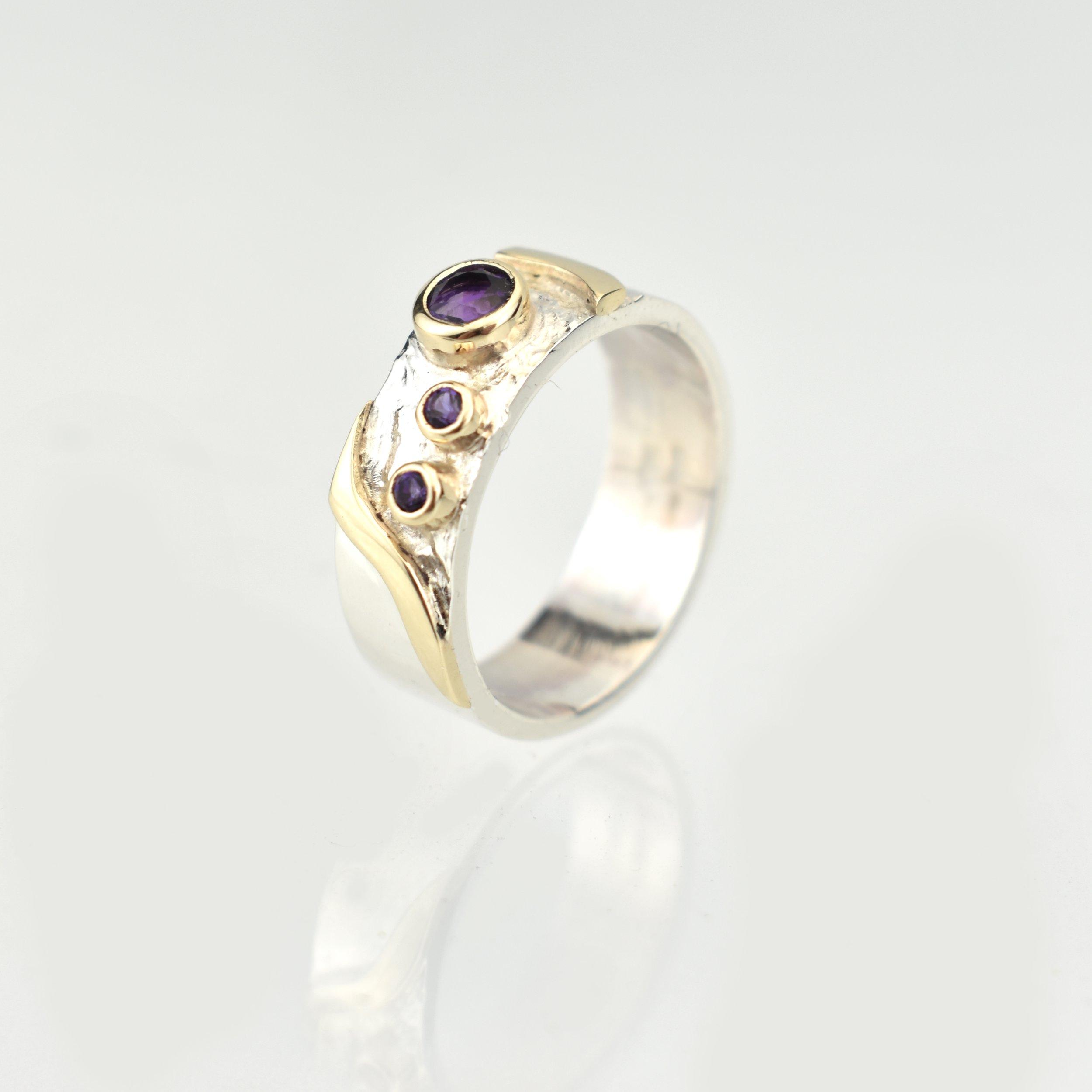 Silver Wedding ring Gold Detail