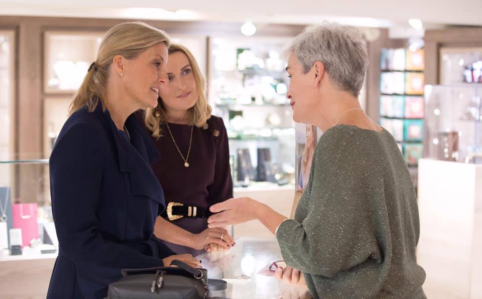 Martina explaining the origin and inspiration for her new Croi Sliogan Collection to Her Royal Highness Sophie Countess of Wessex in Kilkenny Shop Dublin.