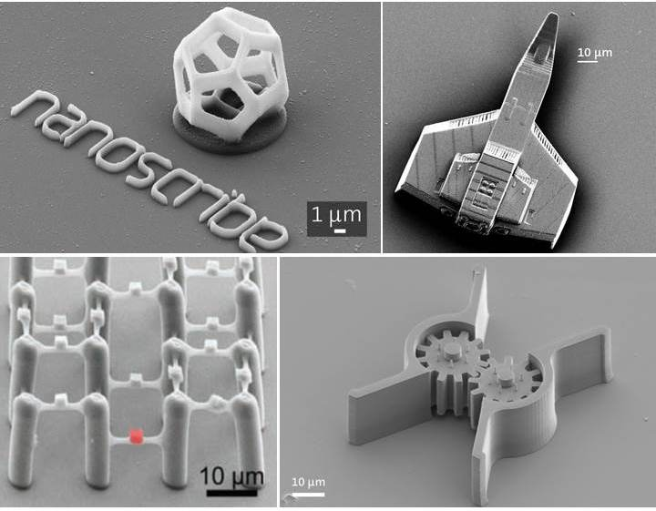 Images of 3D printed structures from Nanoscribe