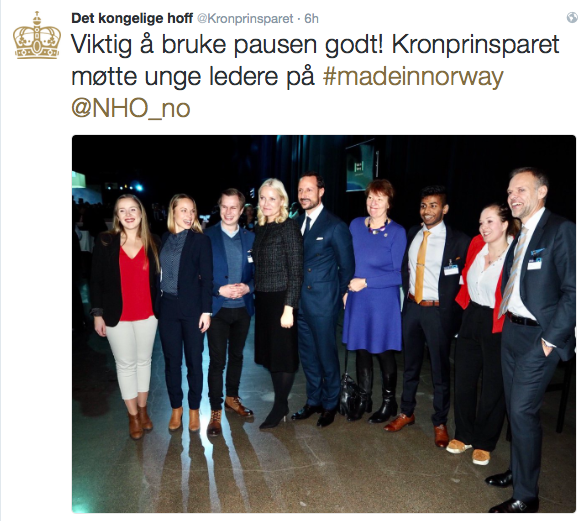 Linn and young leaders for transformation together with Norway's Crown Prince Håkon and Mette Marit