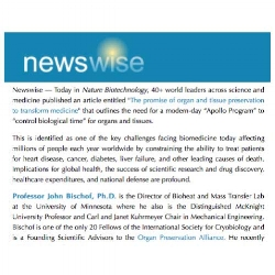 Newswire Story: Experts Author Article Calling for Promise of Organ Preservation to Transform Medicine -