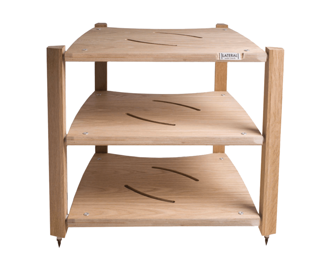 - Sold birch ply & premium oak veneer shelves, solid oak legsAvailable with 2, 3, 4 or 5 tiers as standard. Additional tiers can be added to the 4 and 5 tier stands (Tier+)Spacings between shelves can be customisedCapacity for heavy components of up to 50kgFrom £750