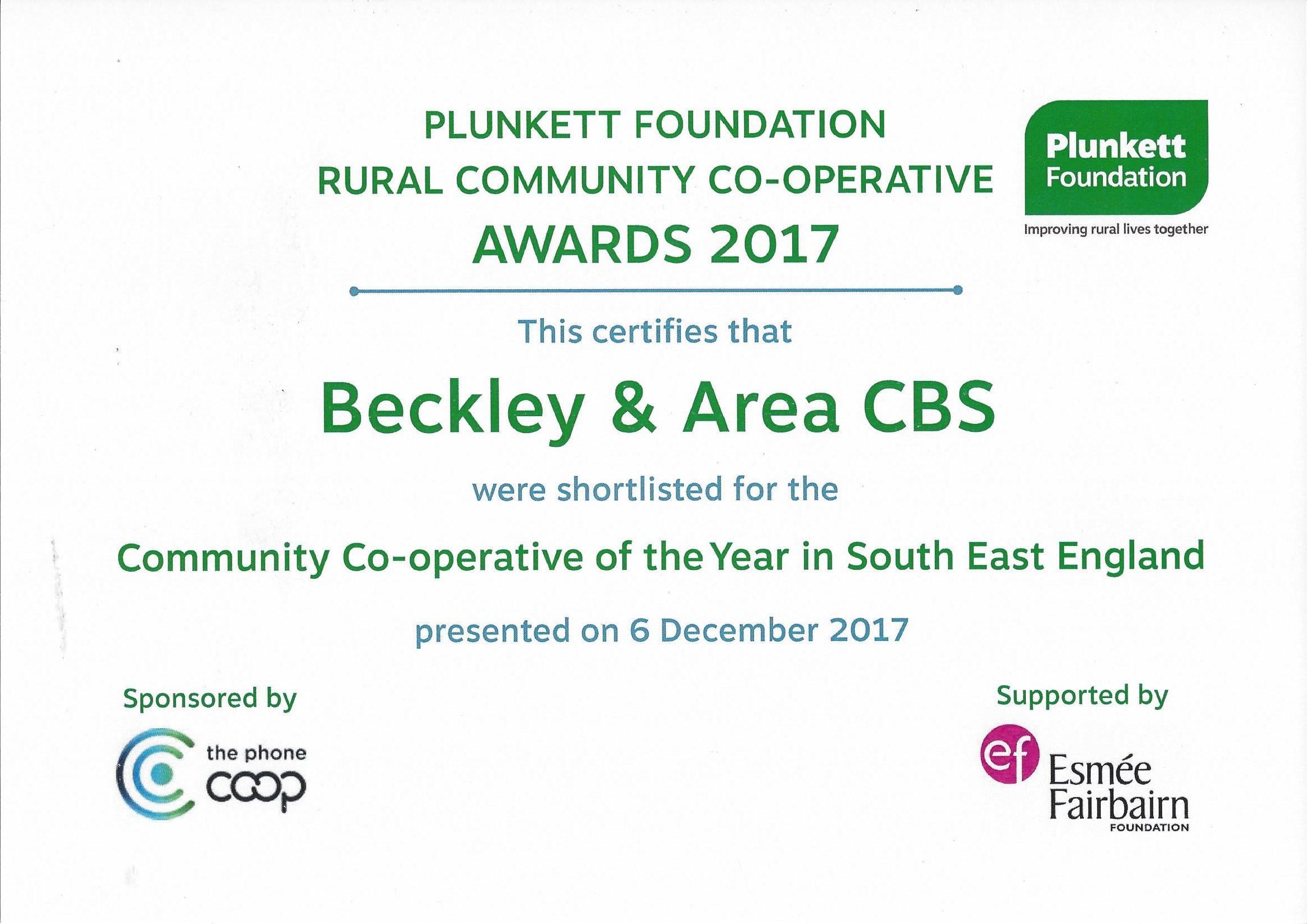 Plunkett Foundation Rural Community Co-Operative Awards 2017 Certificate.jpg