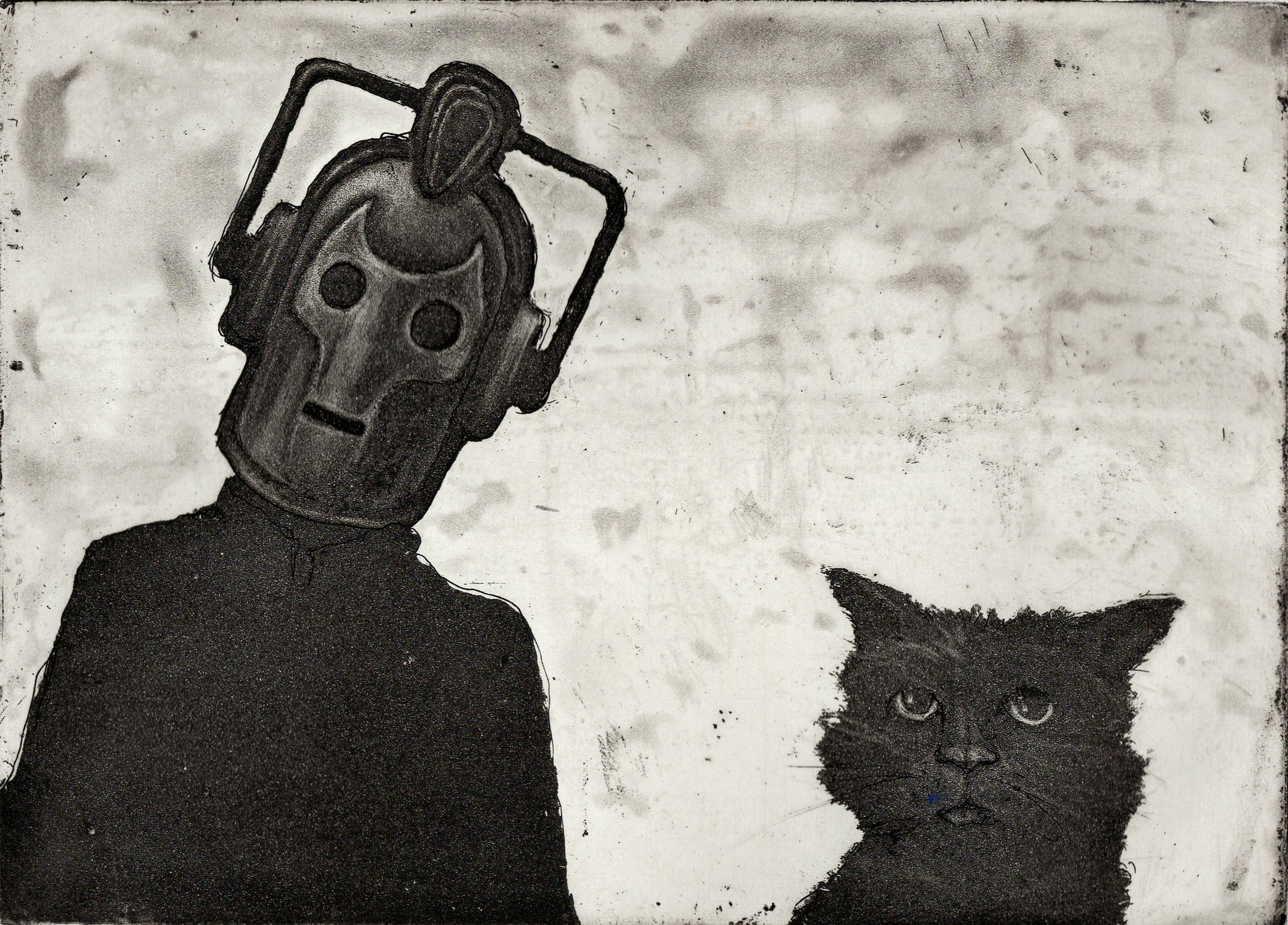 Cyberman and Cat, Etching