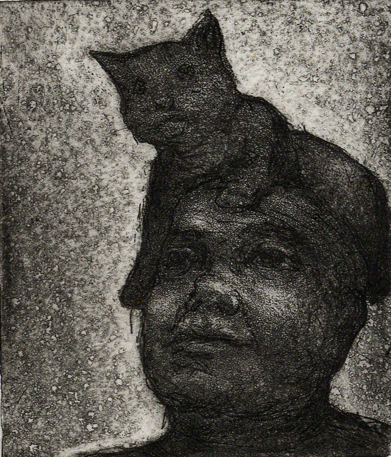 Cat on Head, Etching
