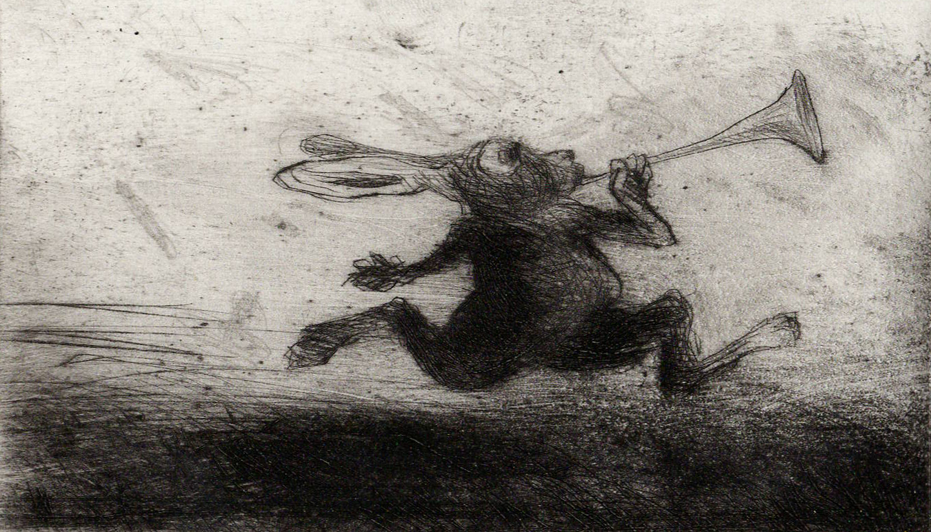 Rabbit and Trumpet, Etching
