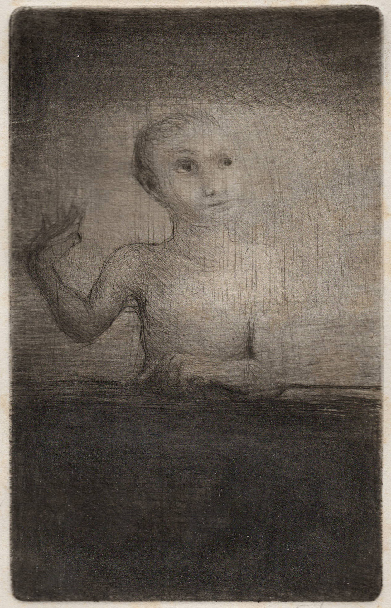 Waving Child, Etching