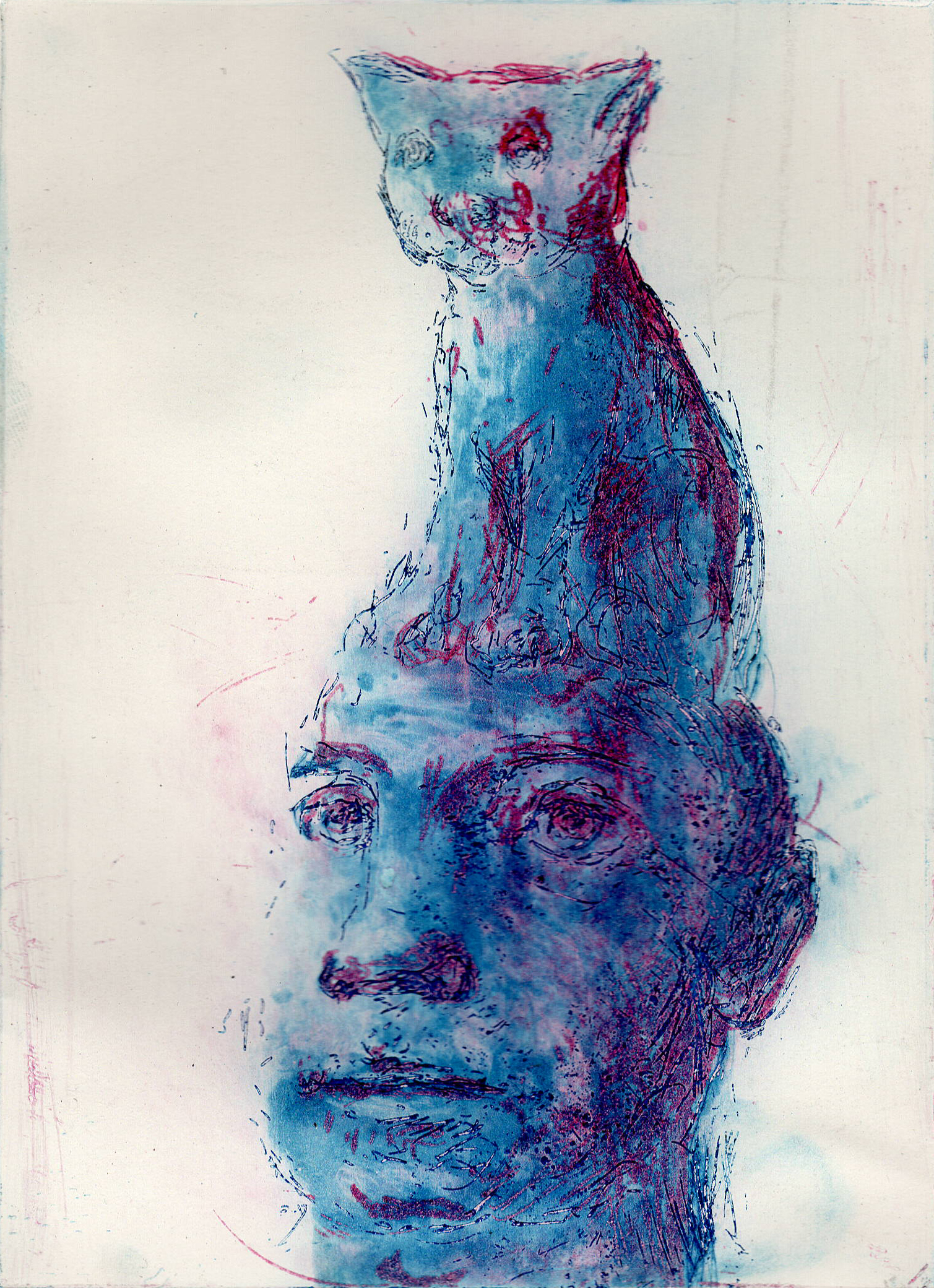 Cat on Head, Coloured Etching