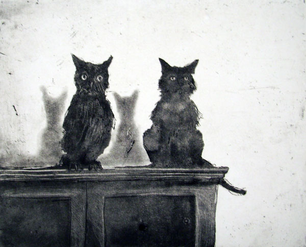 Owl and Cat, Etching