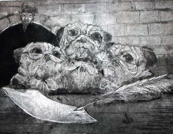 Three Pugs, Etching