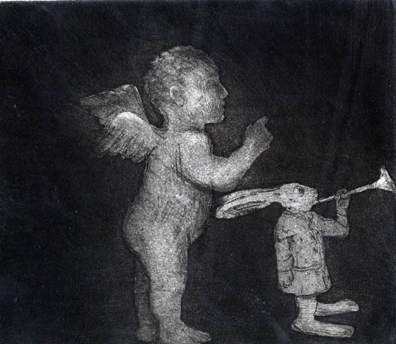 Cherub and Rabbit, Etching