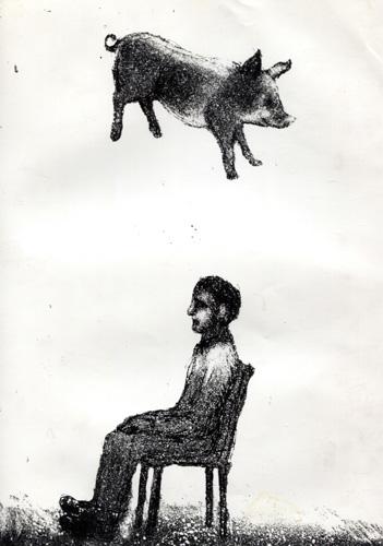 Falling Pig, Etching