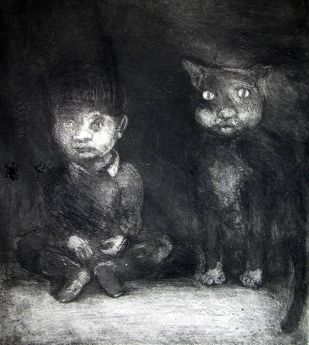 Boy and Cat, Etching