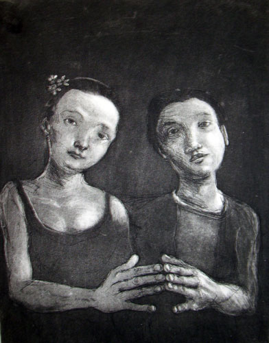 Touching Hands, Etching