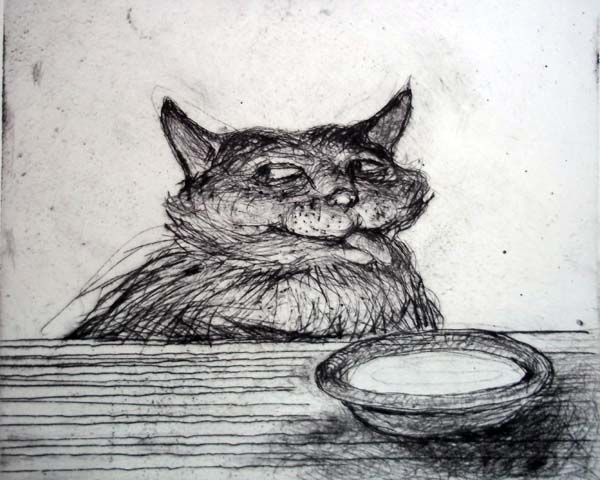 Cat and Cream, Etching