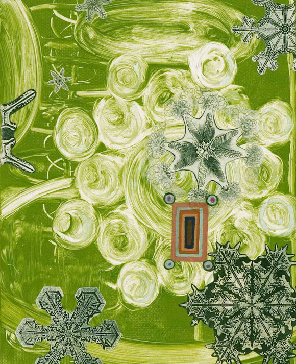 """""""Very Subjective I""""  30 x 22 in.  image 22 x 18 in.  Monotype, Chine colle, Hand painting  1996"""
