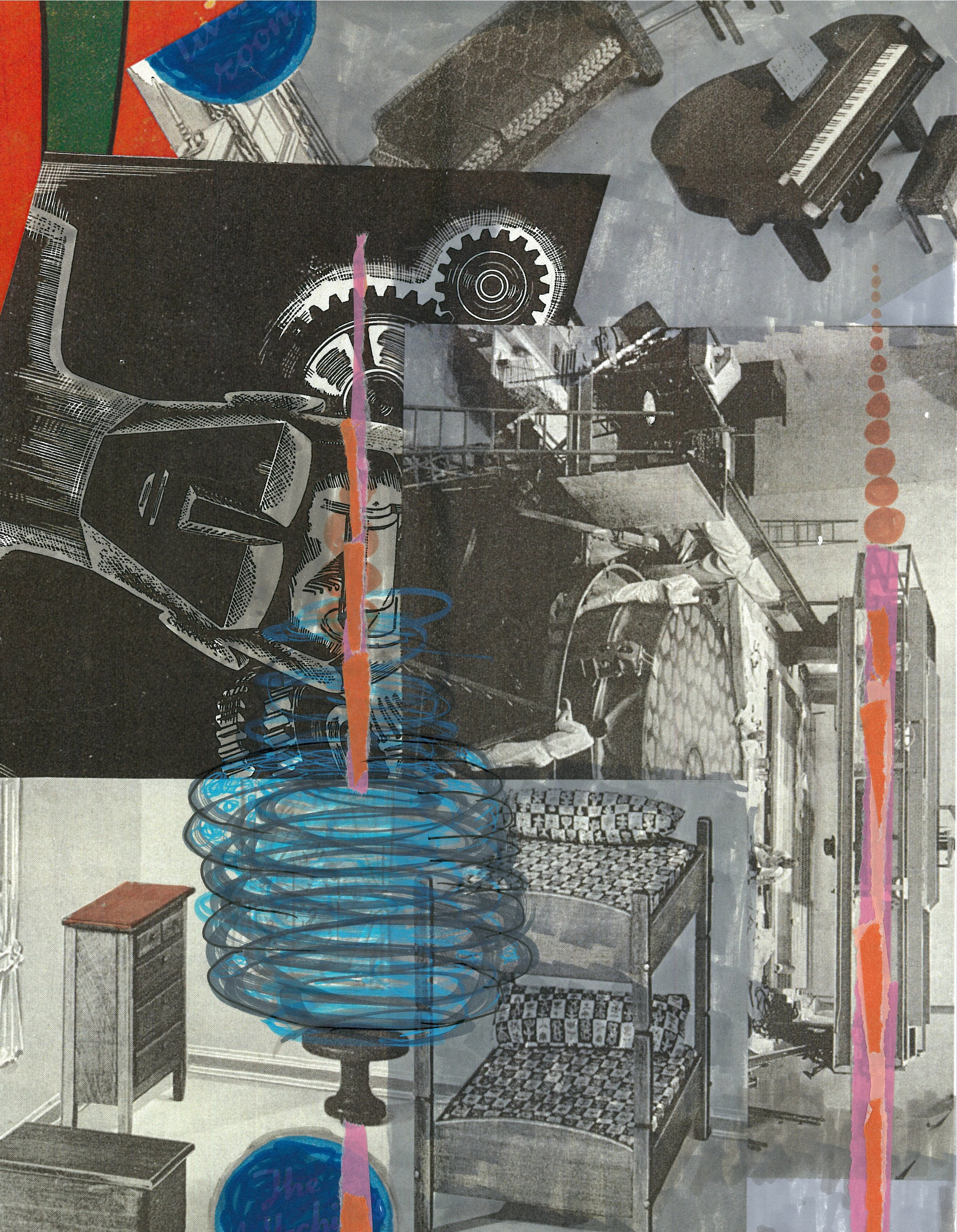 Two Towers   13 X 8.5 inches  collage, ink on archival paper