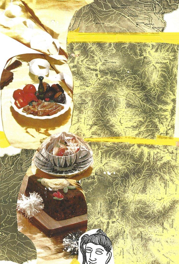 "Crimp, C  16 X 11""  collage, paper tape on archival paper"