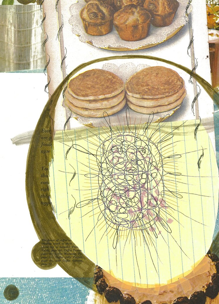 "Zipline  16. X10.5""  collage, ink, montage on archival paper"