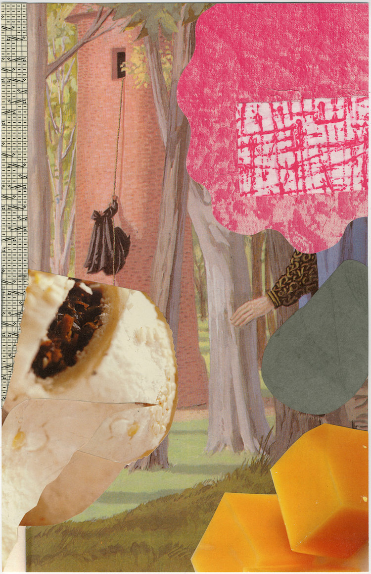 """Papaya  17 X 11""""   collage, montage on archival paper"""