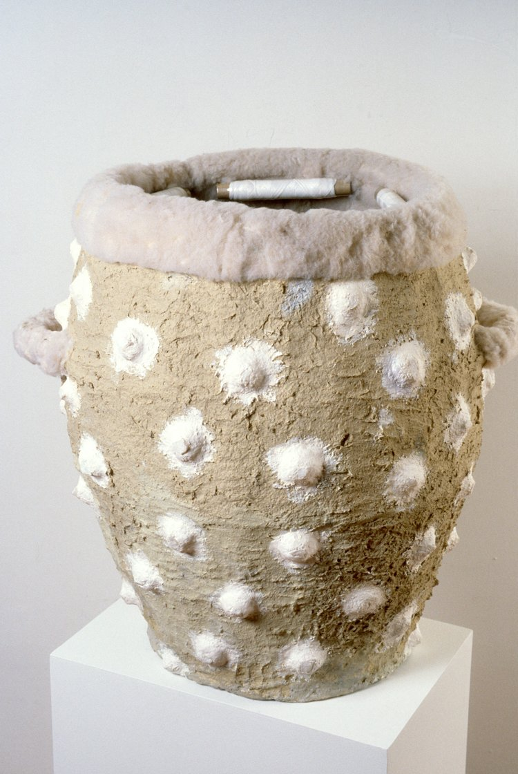 Urn with Thread   materials include;  found objects, paper mache, faux-fur, acrylic paint  35 x 21 x 18 inches  1987