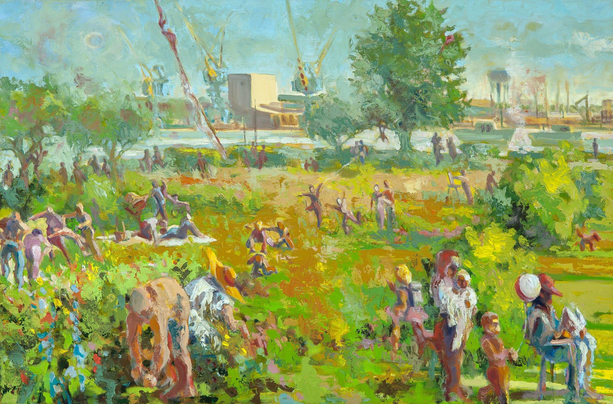 Child's Play, oils, 30 x 20