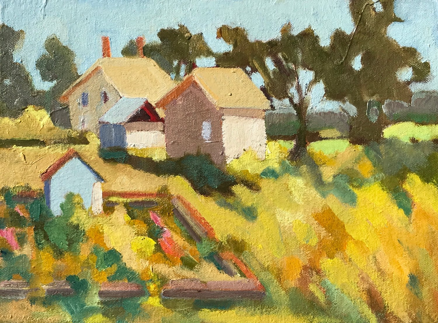Wagon Hill Veggie Shed, oil, 9 x 12