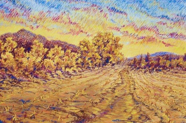 August Sky, pastel, 18 x 24