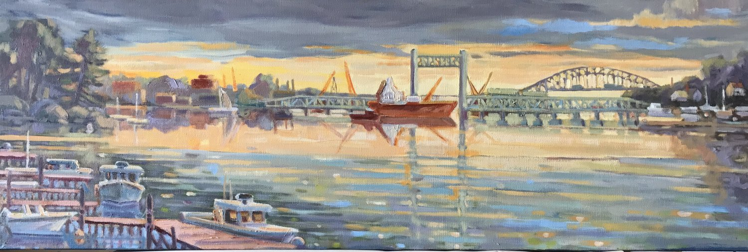 Badger's Island View, oils, 12 x 36