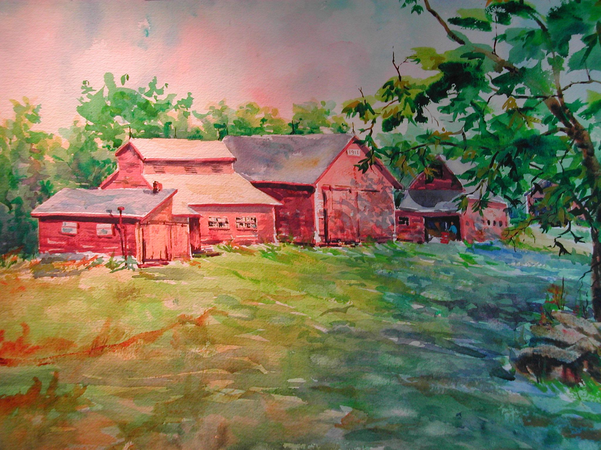 Lotta Rock Barns, watercolor, 15 x 22