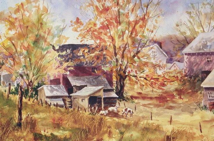 Goat Farm, watercolor, 16 x 20