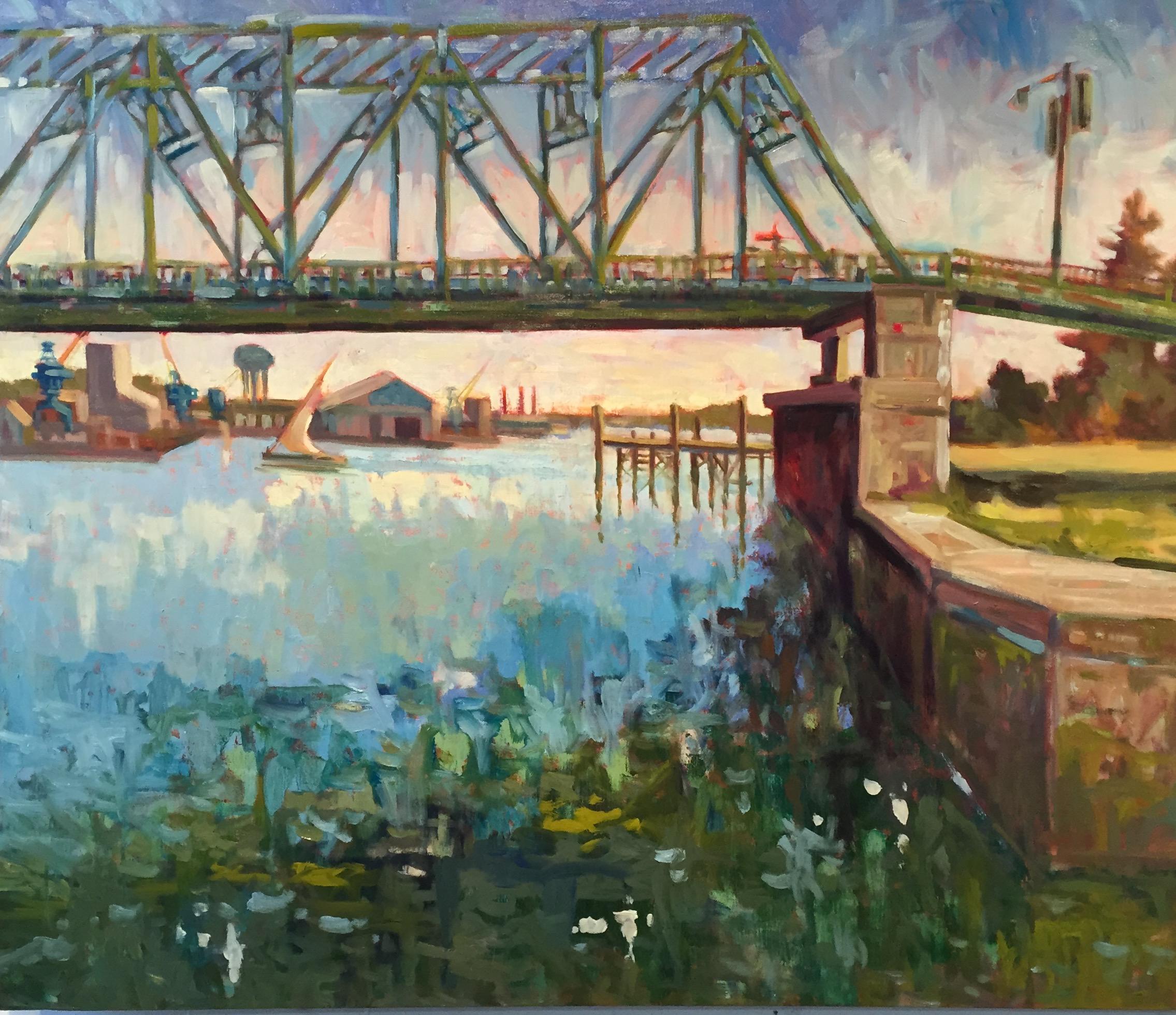 Memorial Bridge w Sail Boat, oils, 36 x 36