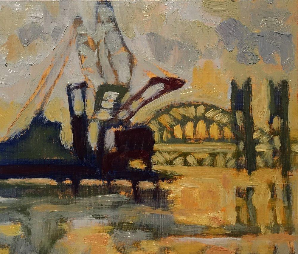 Crane study, oils, 8 x 8