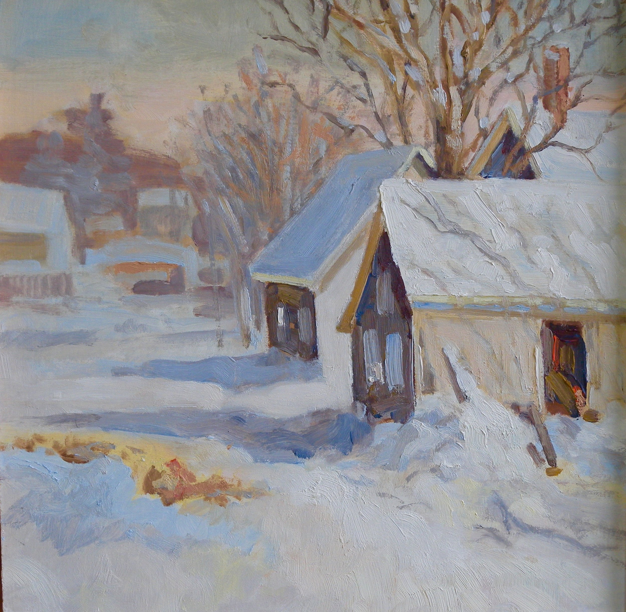 Dwight's Wood Shed, oil, 12 x 12