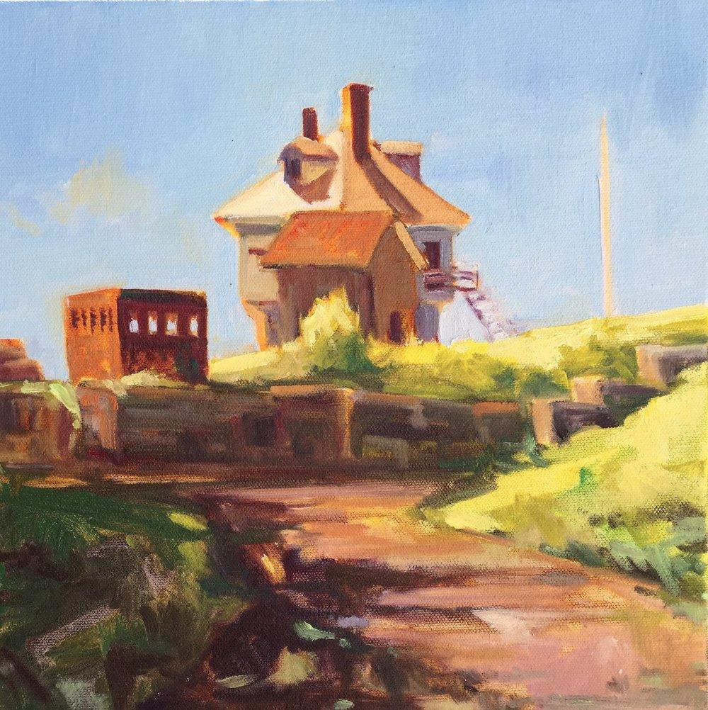 Fort McClary, oils, 12 x 12