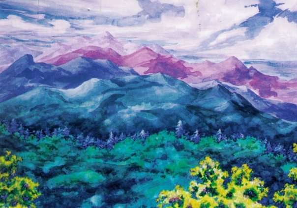 Franconia Ridge, watercolor, 18 x 24