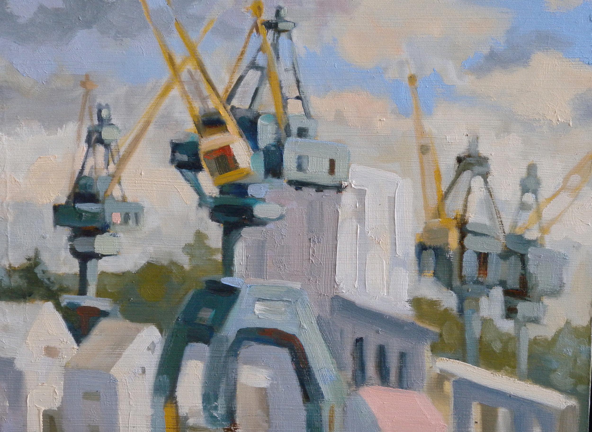 Four Cranes, oils, 9 x 12