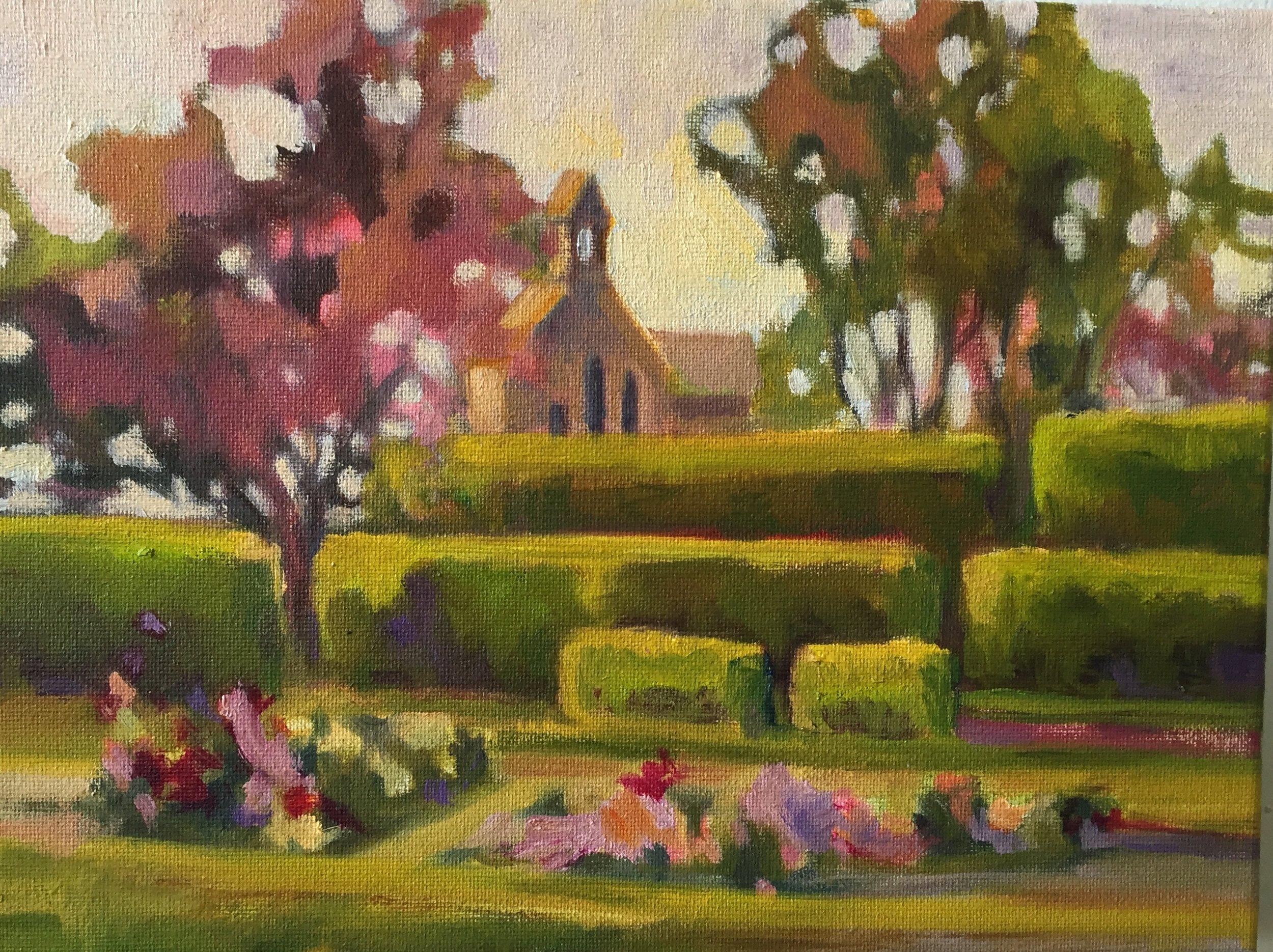 Fuller Garden, oils, 9 x 12