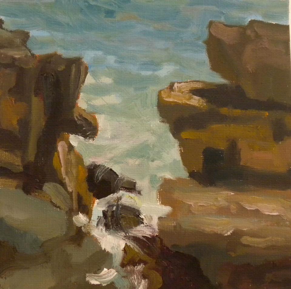 Giant Steps, oil, 6 x 6